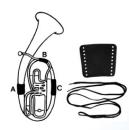 Handschutz für Bariton Leder mit Schnur Teil A