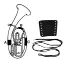 Handschutz für Tenorhorn Leder mit Schnur Teil B