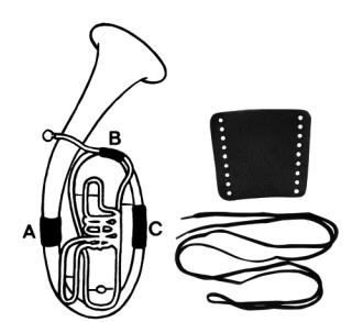 Handschutz für B-Tuba Leder mit Schnur Teil A