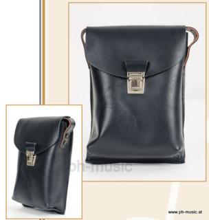 Marschbuch Tasche aus echtem, schwarzem Leder