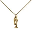 Halskette mit Trompete-Anhänger (goldfarbig)