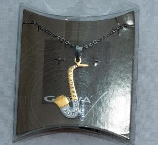 Halskette Gewa Collier Motiv Saxophon mit Steinen
