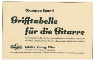 Grifftabelle für Gitarre von Guiseppe Sponti