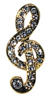 Anstecknadel - Violinschlüssel in Box - mit Juwelen-Imitation besetzt