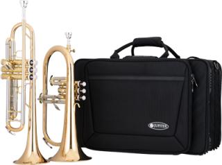 JUPITER Bb Trompete (JTR1110R) und Bb Flügelhorn (JFH1100R), PROTEC Doppelkoffer